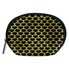 Scales3 Black Marble & Yellow Watercolor (r) Accessory Pouches (medium)