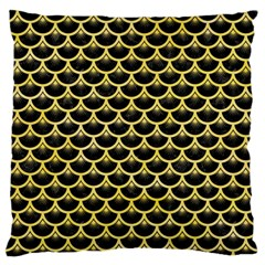 Scales3 Black Marble & Yellow Watercolor (r) Large Flano Cushion Case (two Sides)