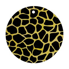 Skin1 Black Marble & Yellow Watercolor Ornament (round)