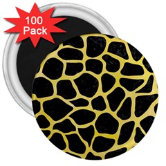 Skin1 Black Marble & Yellow Watercolor 3  Magnets (100 Pack)