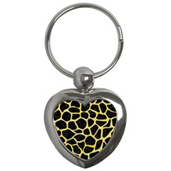 Skin1 Black Marble & Yellow Watercolor Key Chains (heart)