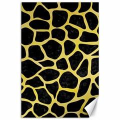 Skin1 Black Marble & Yellow Watercolor Canvas 24  X 36