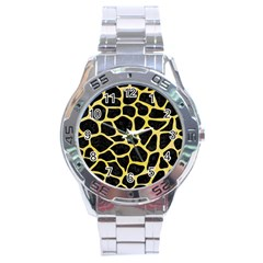 Skin1 Black Marble & Yellow Watercolor Stainless Steel Analogue Watch