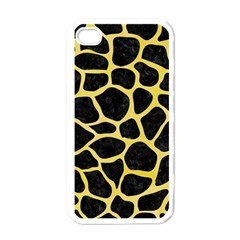 Skin1 Black Marble & Yellow Watercolor Apple Iphone 4 Case (white)