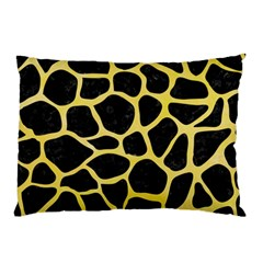 Skin1 Black Marble & Yellow Watercolor Pillow Case (two Sides)