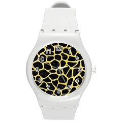 Skin1 Black Marble & Yellow Watercolor Round Plastic Sport Watch (m)