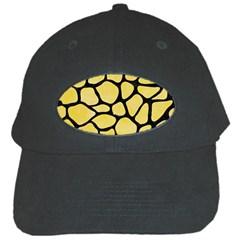 Skin1 Black Marble & Yellow Watercolor (r) Black Cap