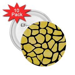 Skin1 Black Marble & Yellow Watercolor (r) 2 25  Buttons (10 Pack)