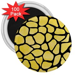 Skin1 Black Marble & Yellow Watercolor (r) 3  Magnets (100 Pack)