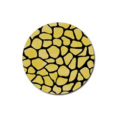 Skin1 Black Marble & Yellow Watercolor (r) Rubber Coaster (round)
