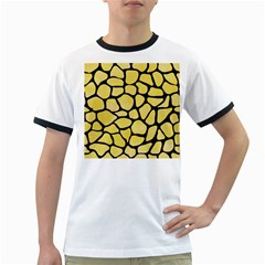 Skin1 Black Marble & Yellow Watercolor (r) Ringer T Shirts
