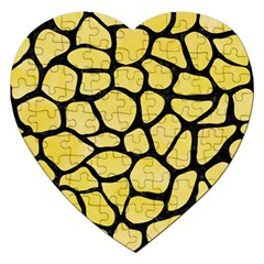Skin1 Black Marble & Yellow Watercolor (r) Jigsaw Puzzle (heart)