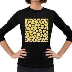 Skin1 Black Marble & Yellow Watercolor (r) Women s Long Sleeve Dark T Shirts