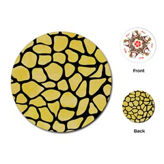 Skin1 Black Marble & Yellow Watercolor (r) Playing Cards (round)