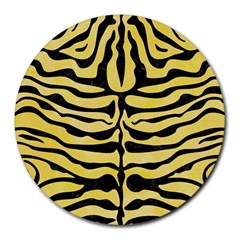 Skin2 Black Marble & Yellow Watercolor Round Mousepads
