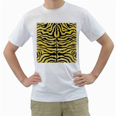 Skin2 Black Marble & Yellow Watercolor Men s T Shirt (white) (two Sided)