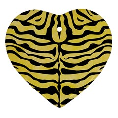 Skin2 Black Marble & Yellow Watercolor Heart Ornament (two Sides)