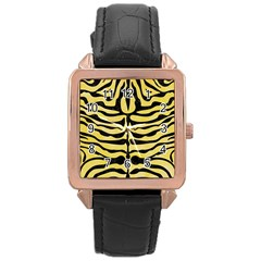 Skin2 Black Marble & Yellow Watercolor Rose Gold Leather Watch