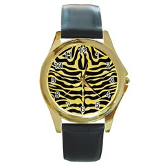 Skin2 Black Marble & Yellow Watercolor (r) Round Gold Metal Watch