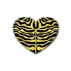 Skin2 Black Marble & Yellow Watercolor (r) Rubber Coaster (heart)