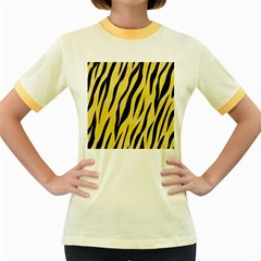 Skin3 Black Marble & Yellow Watercolor Women s Fitted Ringer T Shirts