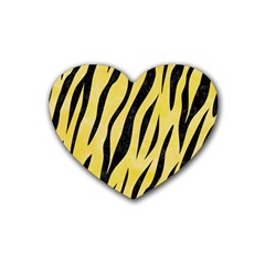 Skin3 Black Marble & Yellow Watercolor Rubber Coaster (heart)