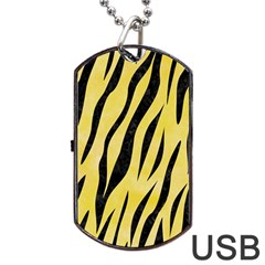 Skin3 Black Marble & Yellow Watercolor Dog Tag Usb Flash (two Sides)