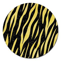 Skin3 Black Marble & Yellow Watercolor (r) Magnet 5  (round)
