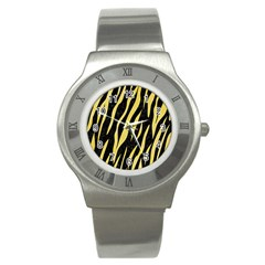 Skin3 Black Marble & Yellow Watercolor (r) Stainless Steel Watch
