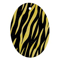 Skin3 Black Marble & Yellow Watercolor (r) Oval Ornament (two Sides)