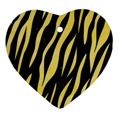 Skin3 Black Marble & Yellow Watercolor (r) Heart Ornament (two Sides)