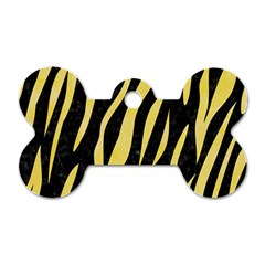Skin3 Black Marble & Yellow Watercolor (r) Dog Tag Bone (one Side)