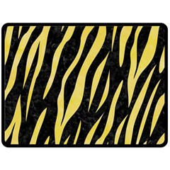 Skin3 Black Marble & Yellow Watercolor (r) Double Sided Fleece Blanket (large)