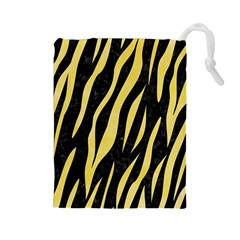 Skin3 Black Marble & Yellow Watercolor (r) Drawstring Pouches (large)