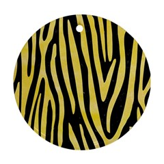 Skin4 Black Marble & Yellow Watercolor Ornament (round)