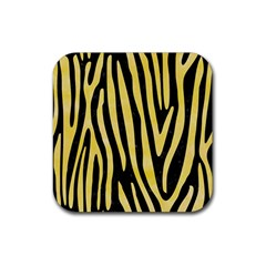 Skin4 Black Marble & Yellow Watercolor Rubber Square Coaster (4 Pack)