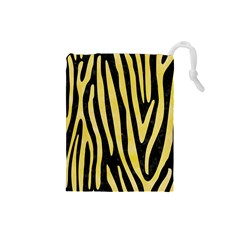 Skin4 Black Marble & Yellow Watercolor Drawstring Pouches (small)