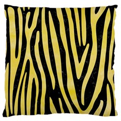 Skin4 Black Marble & Yellow Watercolor Large Flano Cushion Case (two Sides)