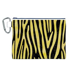 Skin4 Black Marble & Yellow Watercolor Canvas Cosmetic Bag (l)