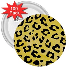 Skin5 Black Marble & Yellow Watercolor (r) 3  Buttons (100 Pack)