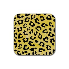 Skin5 Black Marble & Yellow Watercolor (r) Rubber Square Coaster (4 Pack)