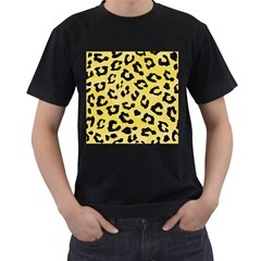 Skin5 Black Marble & Yellow Watercolor (r) Men s T Shirt (black) (two Sided)