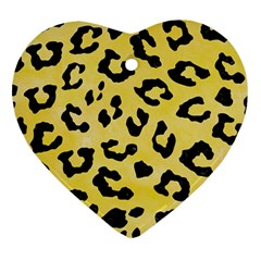 Skin5 Black Marble & Yellow Watercolor (r) Heart Ornament (two Sides)