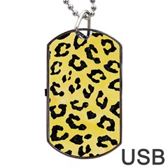 Skin5 Black Marble & Yellow Watercolor (r) Dog Tag Usb Flash (two Sides)