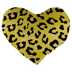 Skin5 Black Marble & Yellow Watercolor (r) Large 19  Premium Flano Heart Shape Cushions