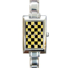Square1 Black Marble & Yellow Watercolor Rectangle Italian Charm Watch