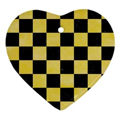 Square1 Black Marble & Yellow Watercolor Ornament (heart)
