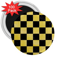 Square1 Black Marble & Yellow Watercolor 3  Magnets (100 Pack)