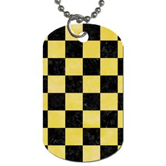 Square1 Black Marble & Yellow Watercolor Dog Tag (two Sides)