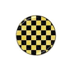 Square1 Black Marble & Yellow Watercolor Hat Clip Ball Marker (4 Pack)